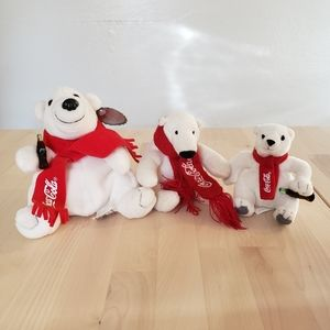 Coca-Cola Set of 3 Coke Polar Bear Plush Toy 1998